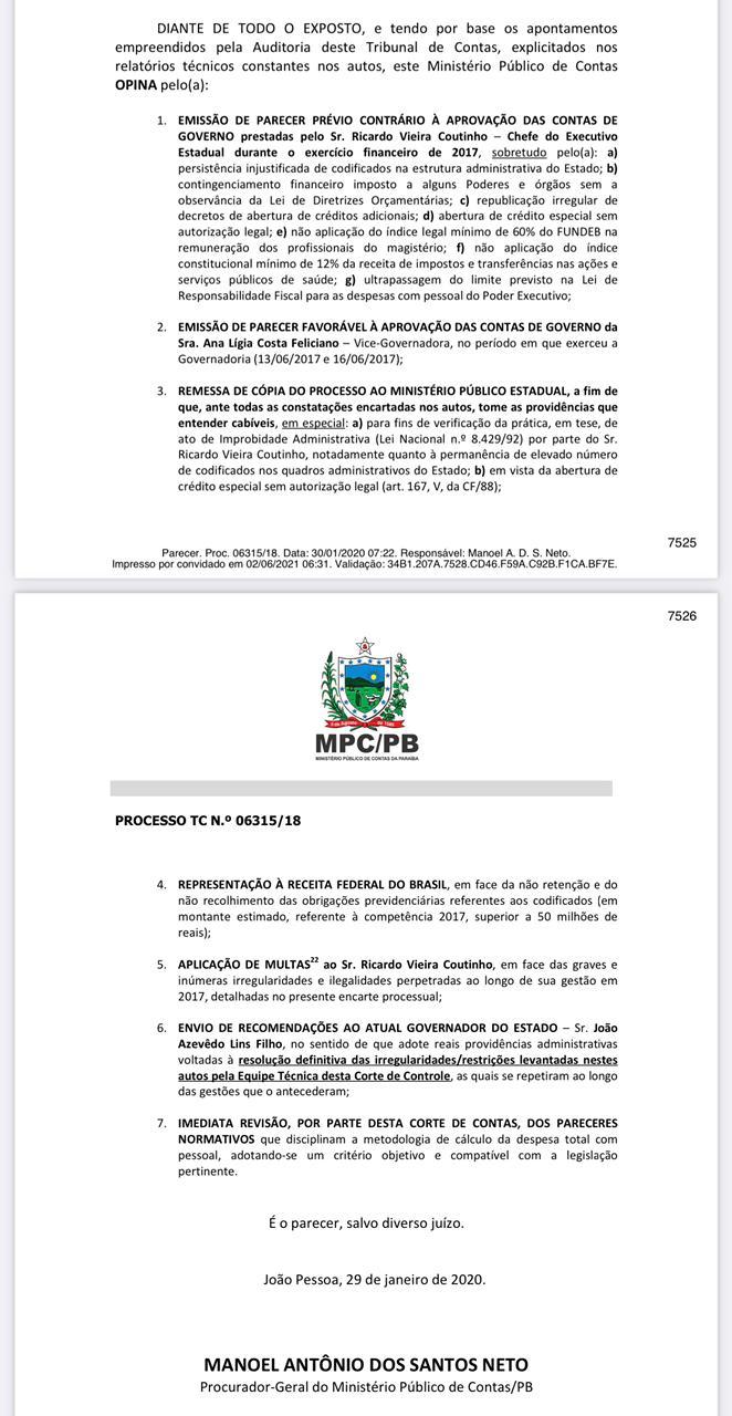 whatsapp image 2021 06 02 at 063505 1 - TCE julga nesta 6ª feira, contas do ex-governador Ricardo Coutinho referente a 2017; parecer é pela reprovação
