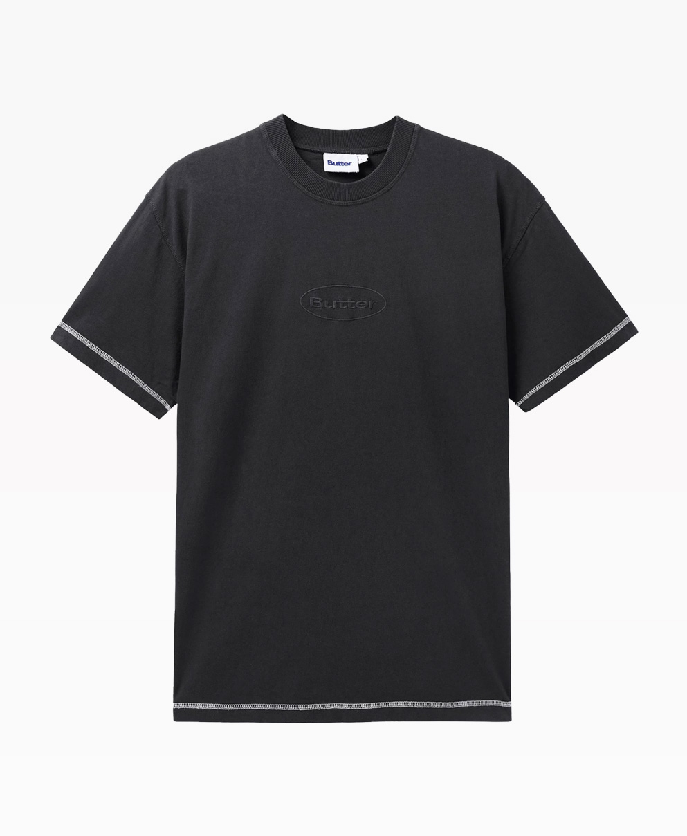 Butter Goods Chain Stitch Black Tee Front