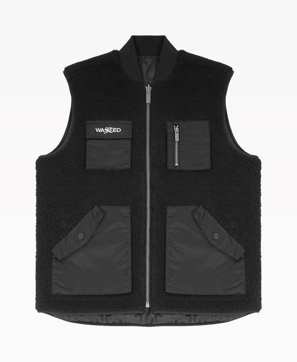 Wasted Vest Mountain Reversible Noir Front