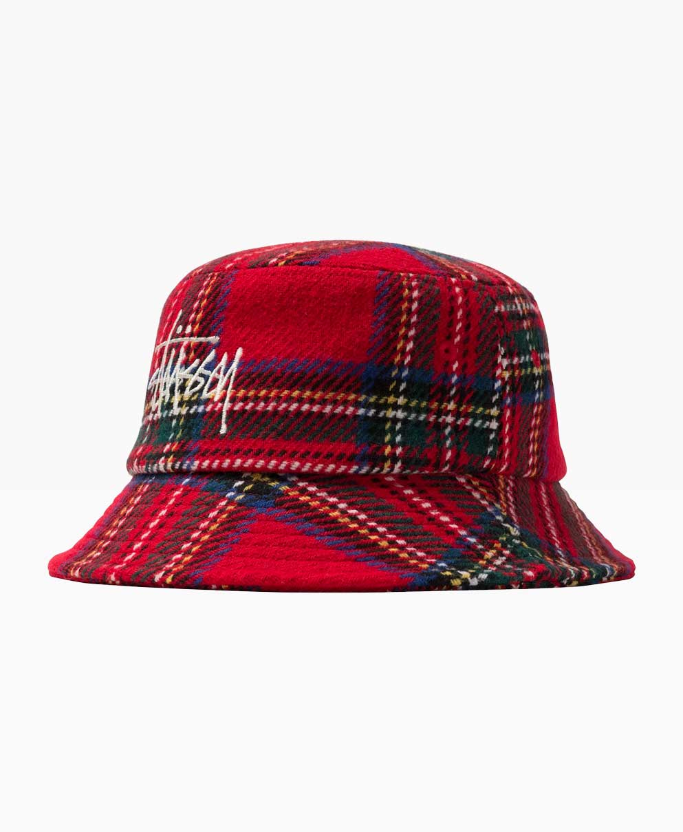 Stussy Big Logo Plaid Bucket Red Front