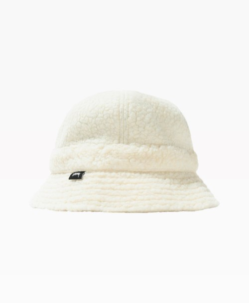 Stussy Sherpa Fleece Bell Bucket Hat White Front