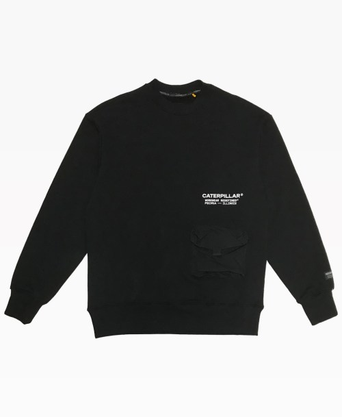Cat Pocket Crewneck Black Front
