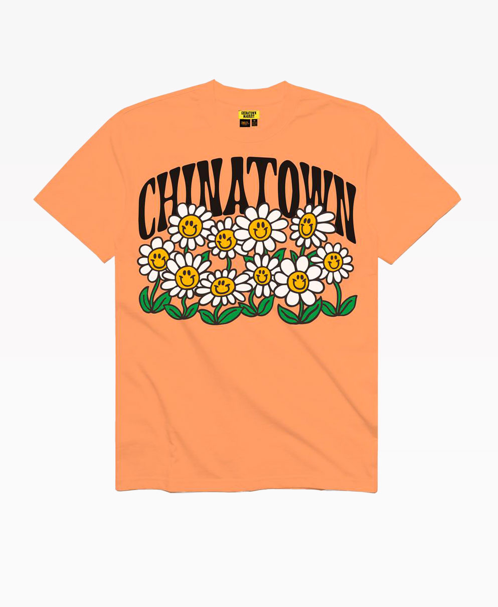 Chinatown Smiley Flower Power Tee Peach Front