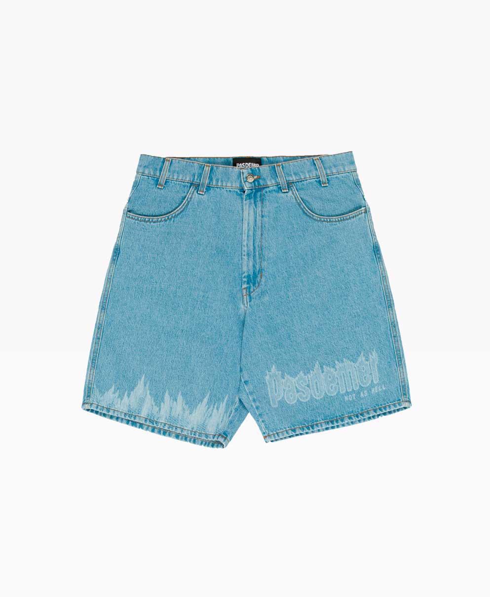 Pas De Mer Hot As Hell Shorts Denim Blue Front