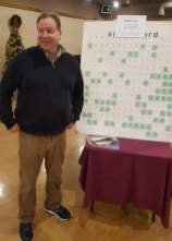 Jim Marincic, President of KSKJ St. Lawrence Lodge #63 selling sideboards at the Greater Cleveland Peace Officers Memorial Society Night at the Races, Dec. 1, 2017. There are matching sponsors for the event.