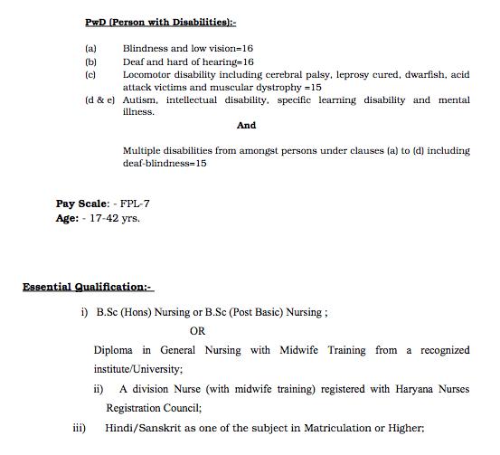 Haryana Staff Nurse Recruitment 2019