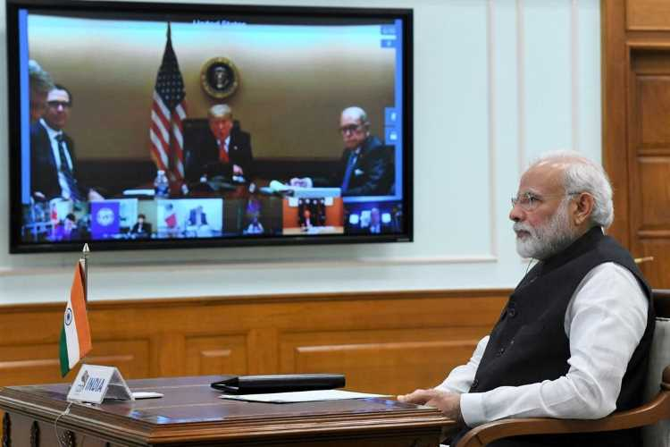 Narendra Modi attending the G20 video conference summit