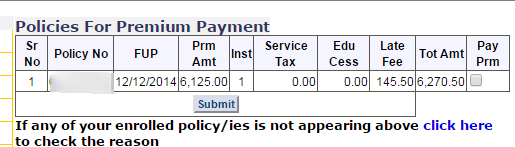 LIC payment online policy payment page