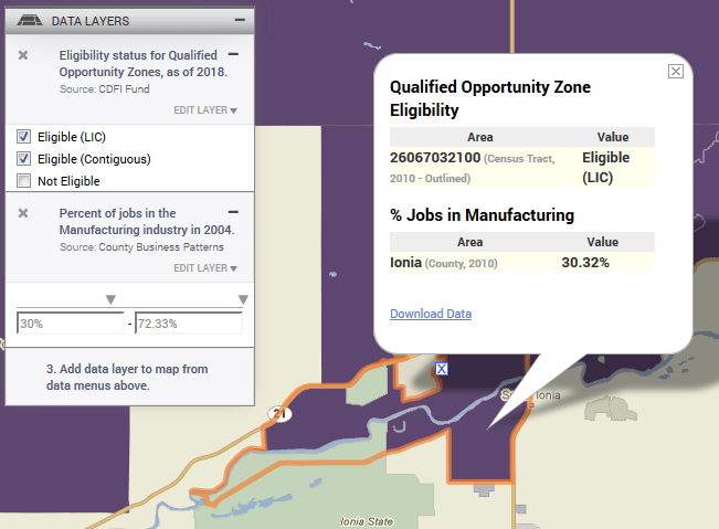 3 Layer Maps with Opportunity Zones and 2004 Manufacturing