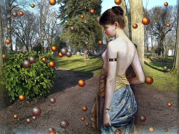 palline bosco e donna