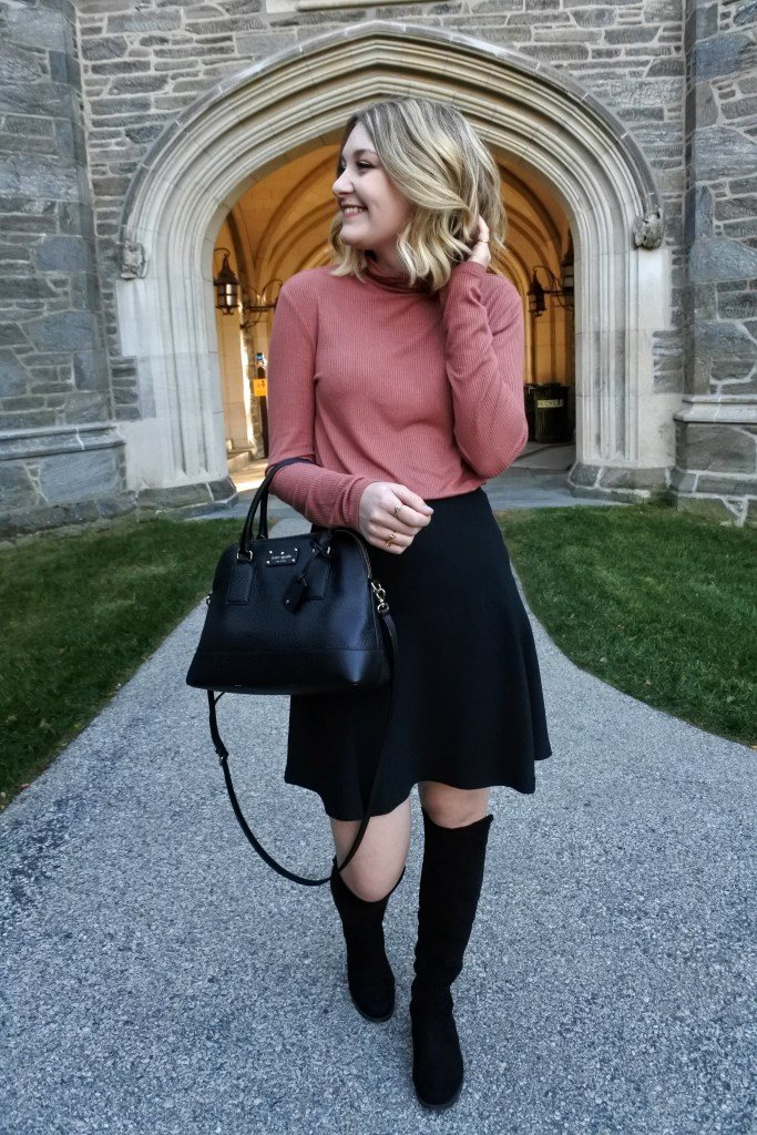 A pretty turtleneck and skirt with boots make the perfect fall outfit!