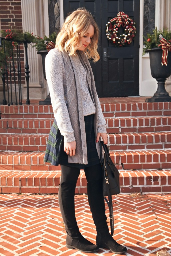 A cozy, festive look for the holidays! Love a plaid skirt