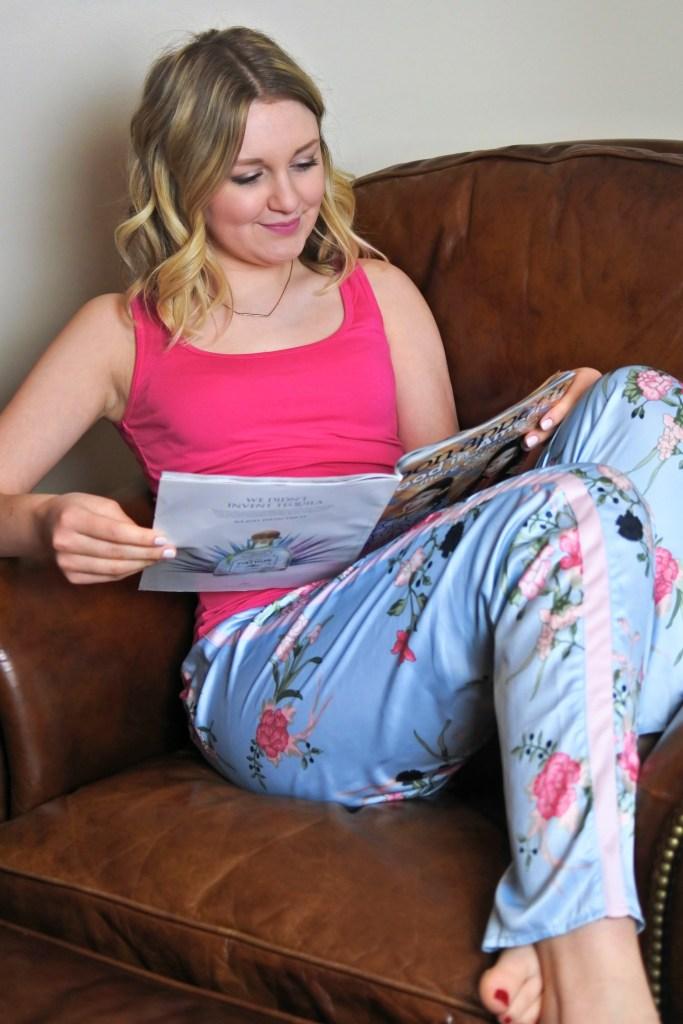 Pink floral pajamas