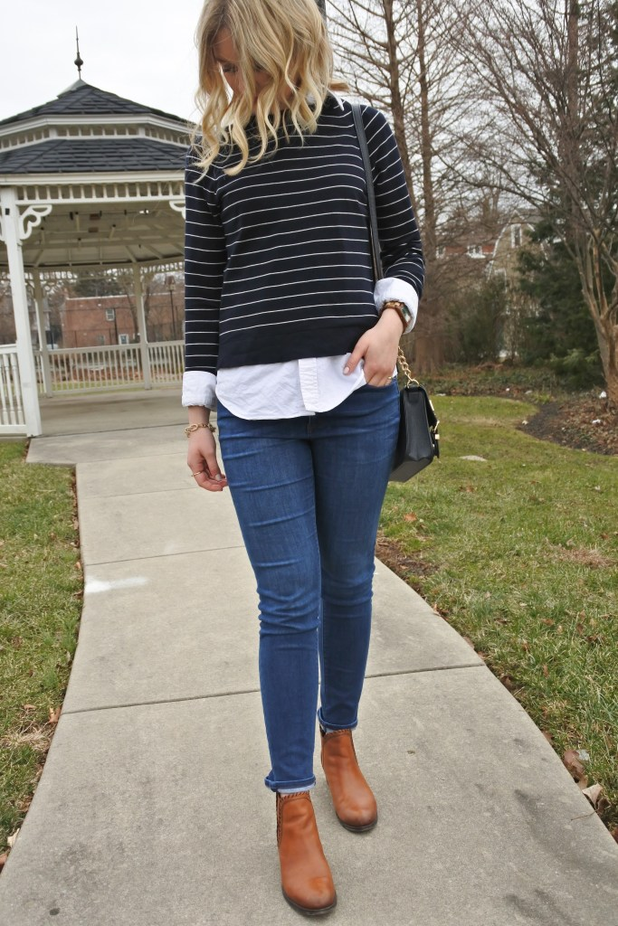 Love layering a long shirt with a short sweater for a fun, preppy look
