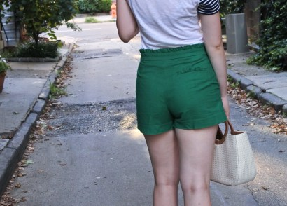High-waisted green shorts for summer