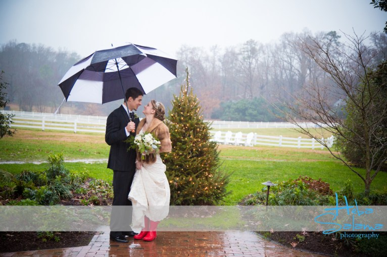 Immediately after the ceremony, I popped on those red boots and my grandmother's fur stole.