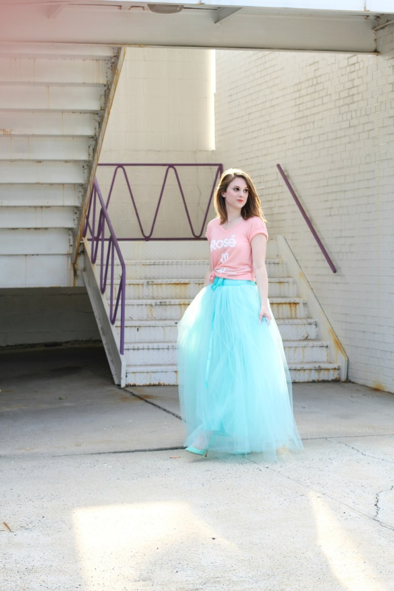 Tulle Maxi Skirt and Graphic Tee