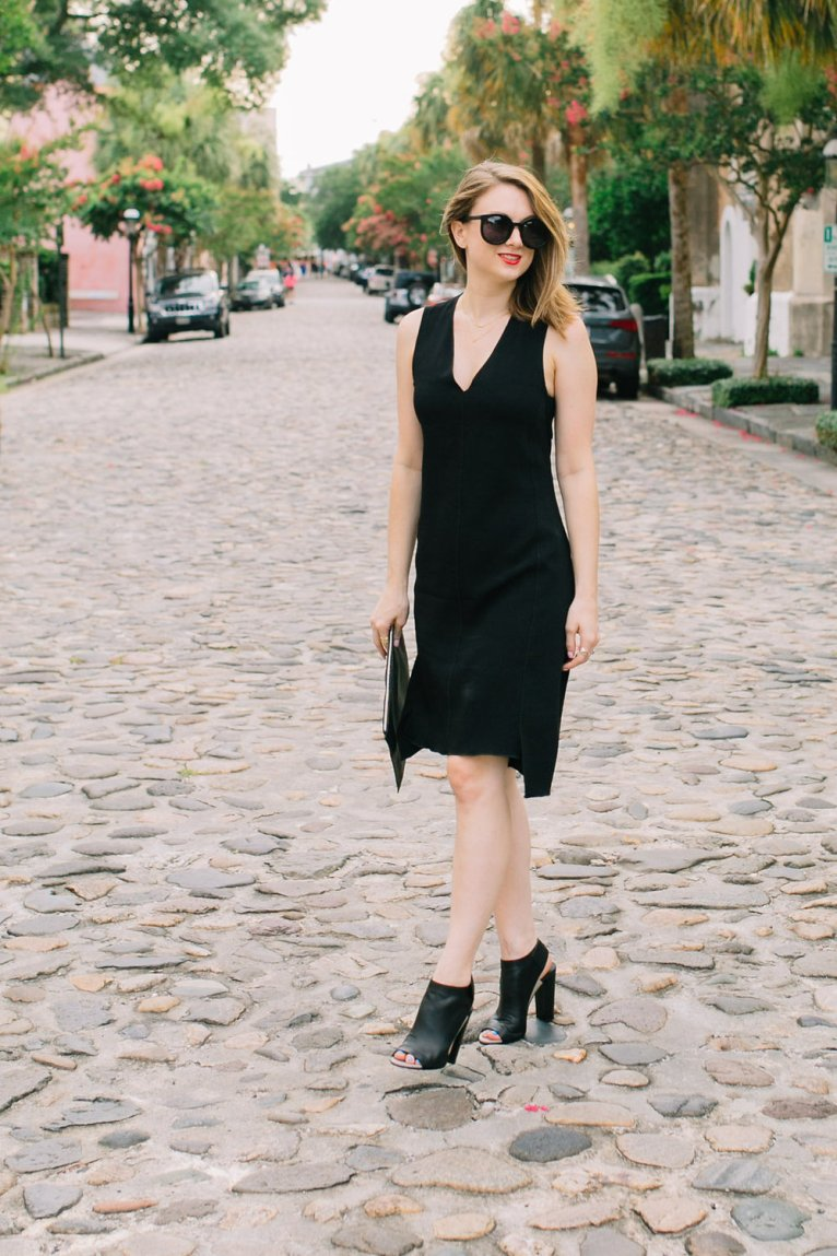 Black Dress with Open Back and Open-Toe Heeled Booties