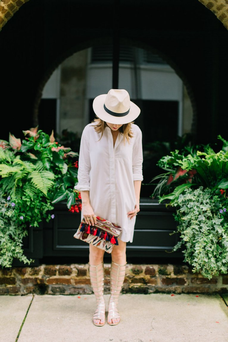 White Shirt Dress and Gladiator Sandals and Panama Hat