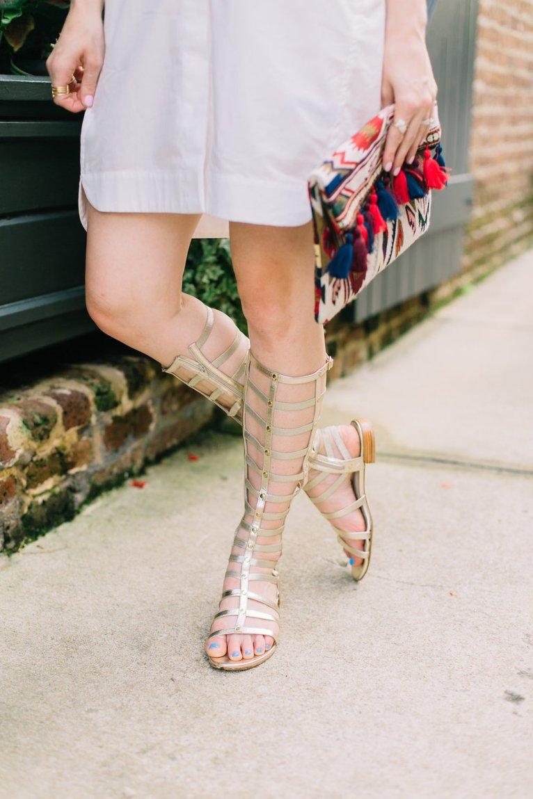 Gladiator Sandals and Boho Tassel Clutch