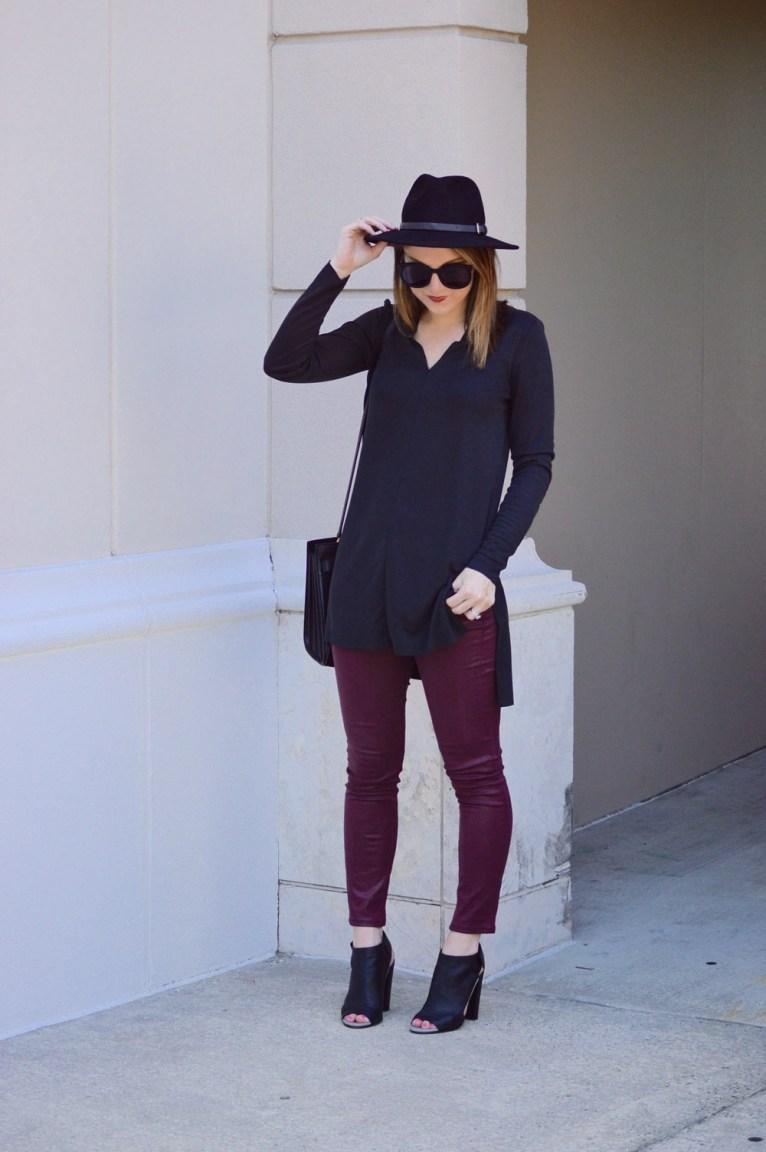 Black Tunic with Coated Denim