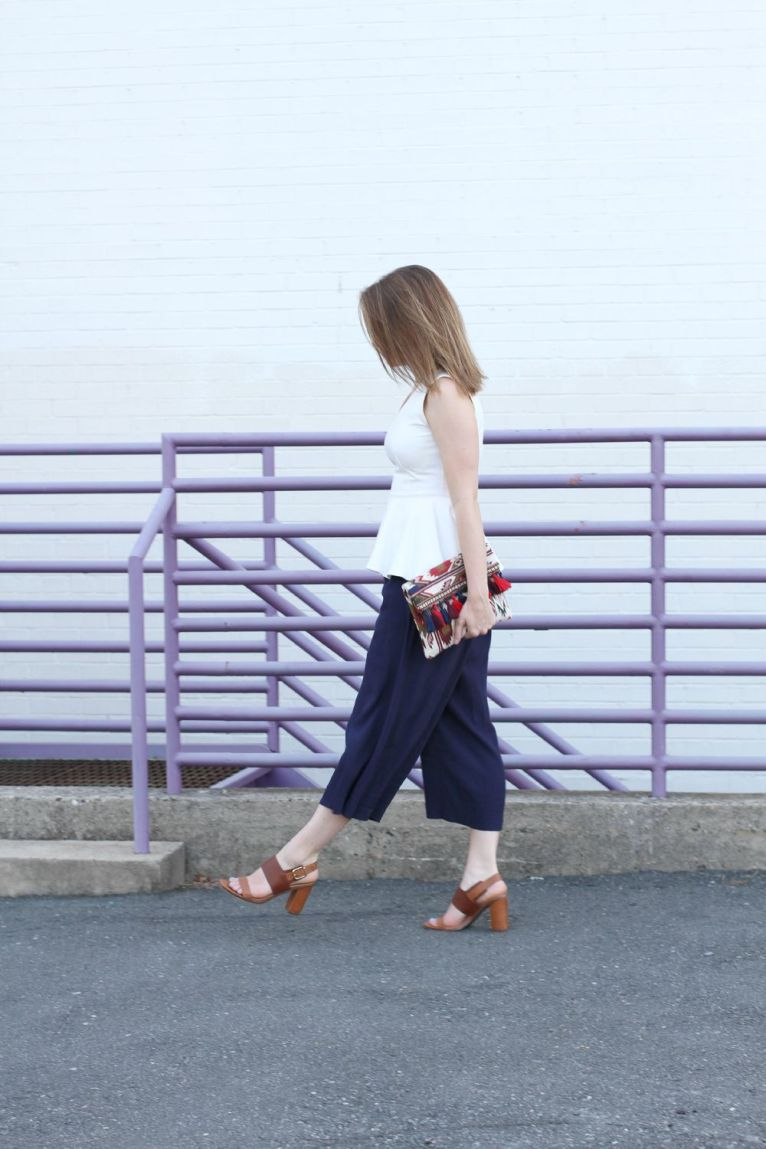 navy culottes and white peplum top and brown block heel sandals
