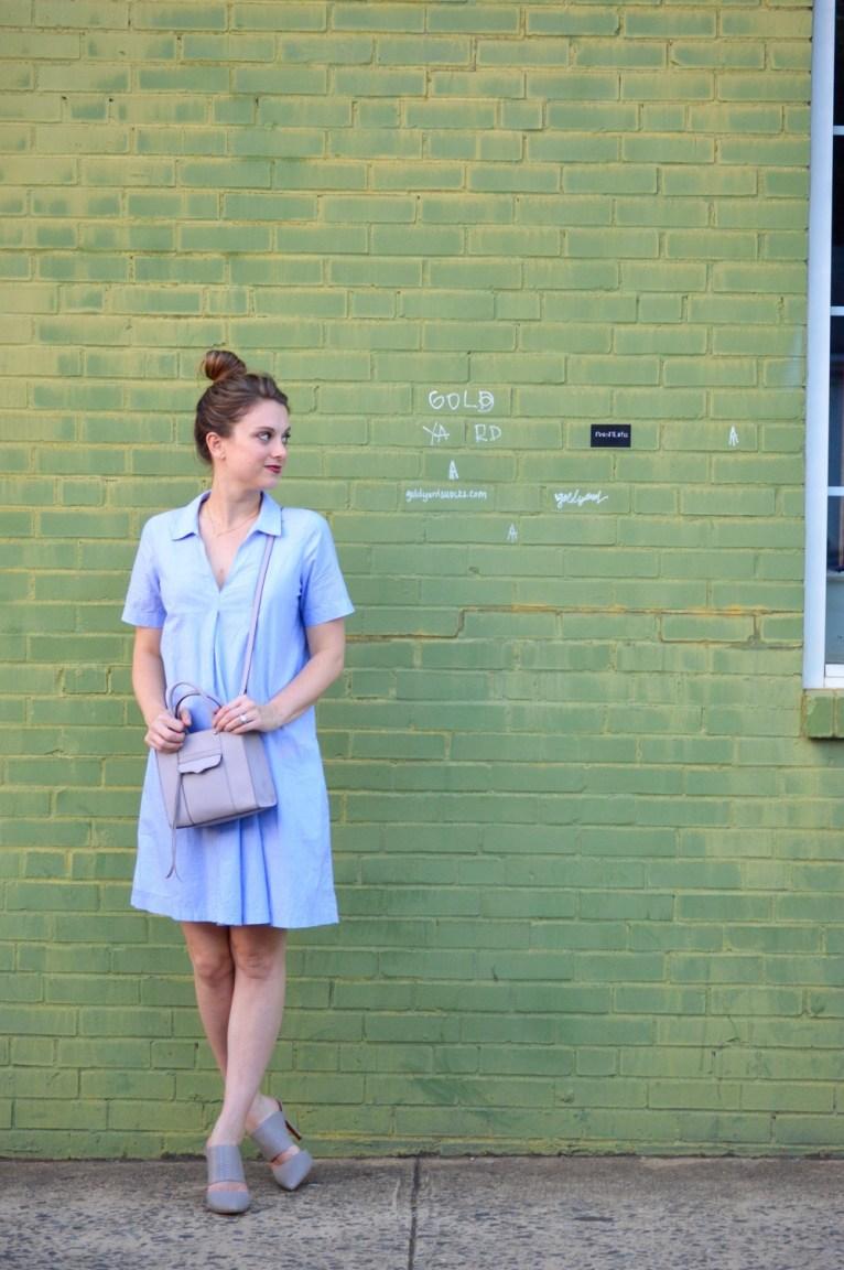 Madewell Shirt Dress and Rebecca Minkoff Bag