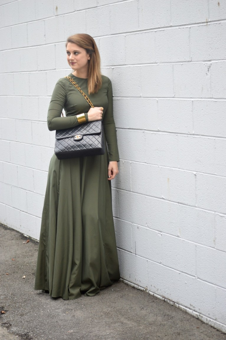 Vintage Chanel and Green Maxi Dress