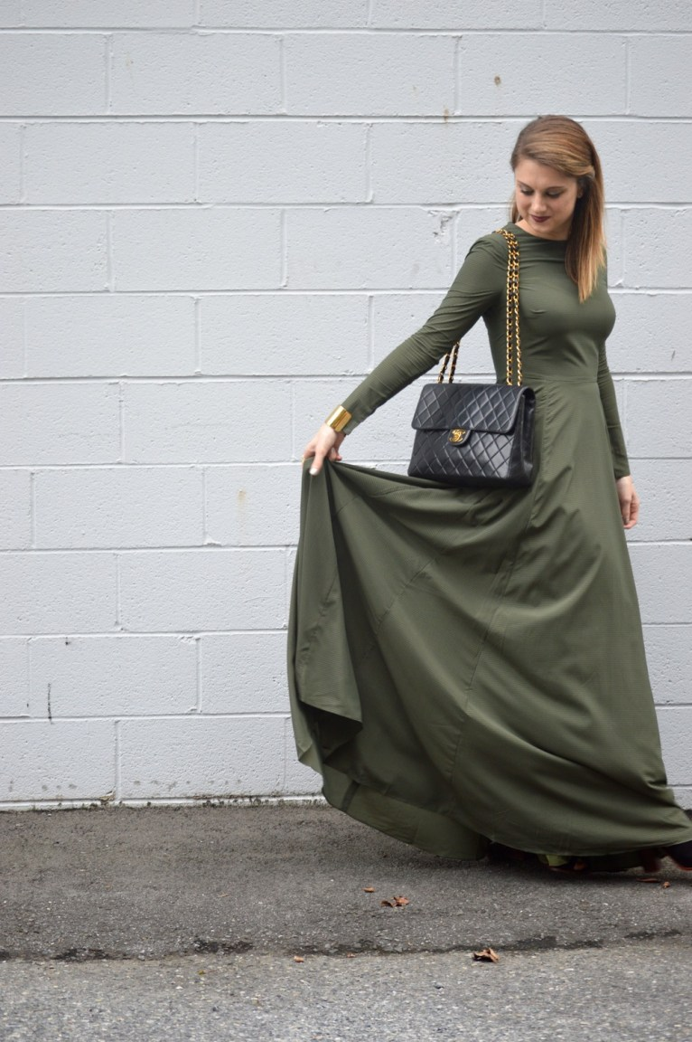 Long Sleeve Green Maxi Dress
