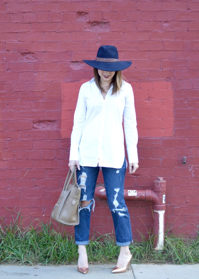 Distressed Denim and White button Up Shirt