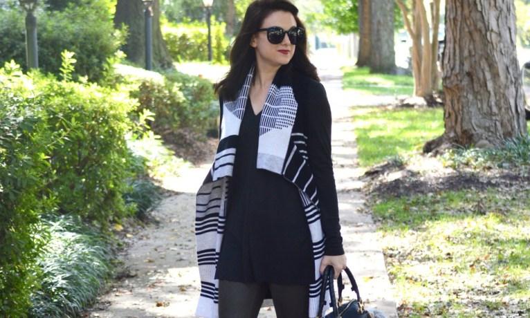 Patterned Vest and Leather-Like Denim