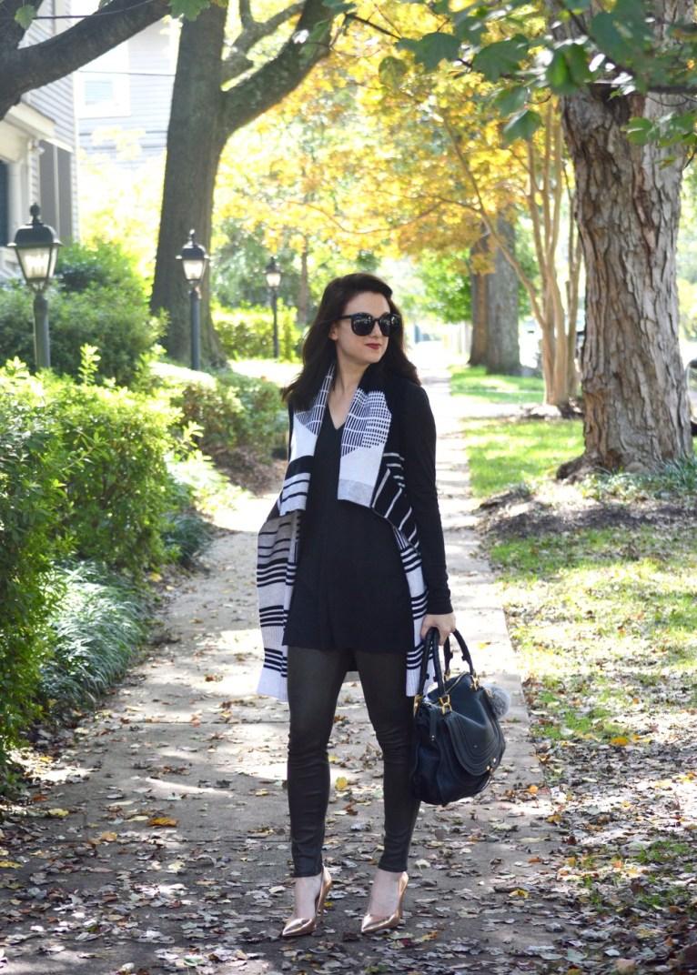 Patterned Vest and Leather Like Denim