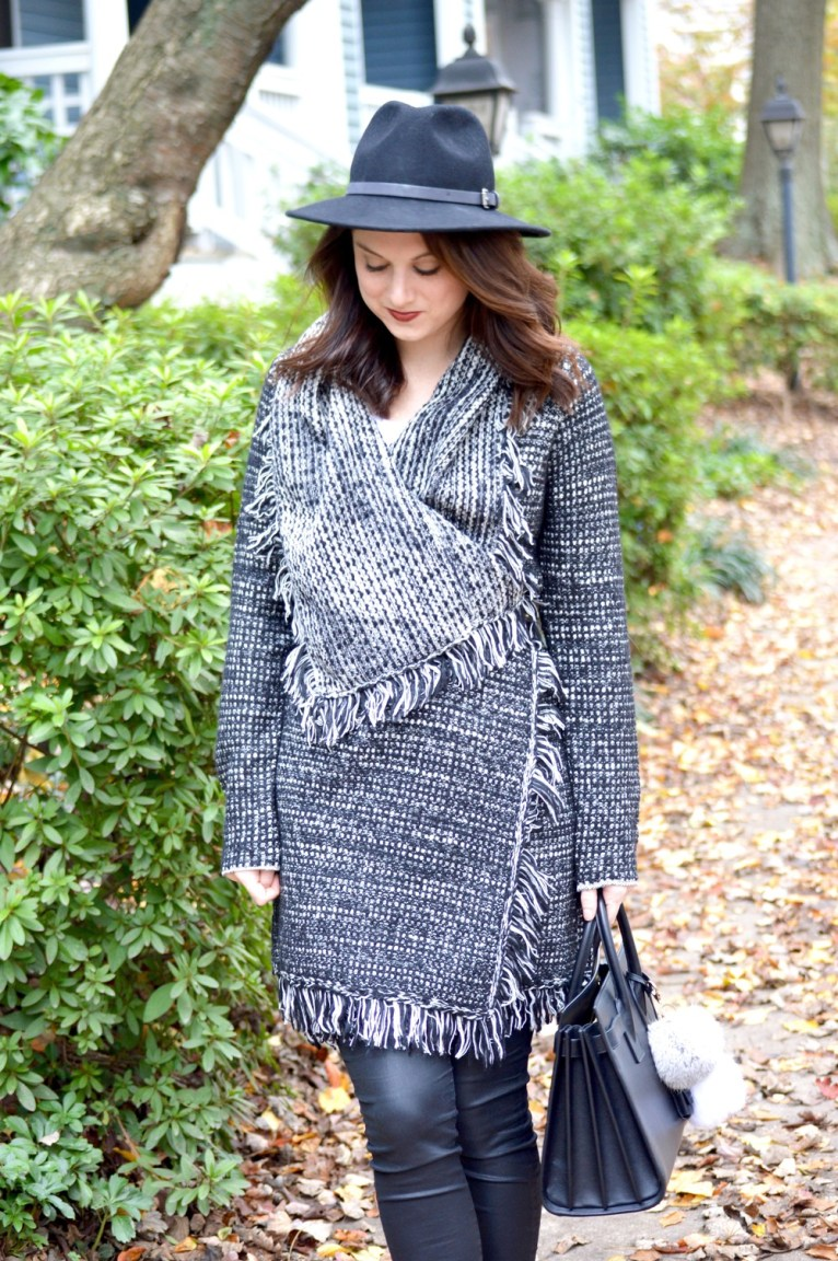 Fringe Cardigan and Black Felt Hat