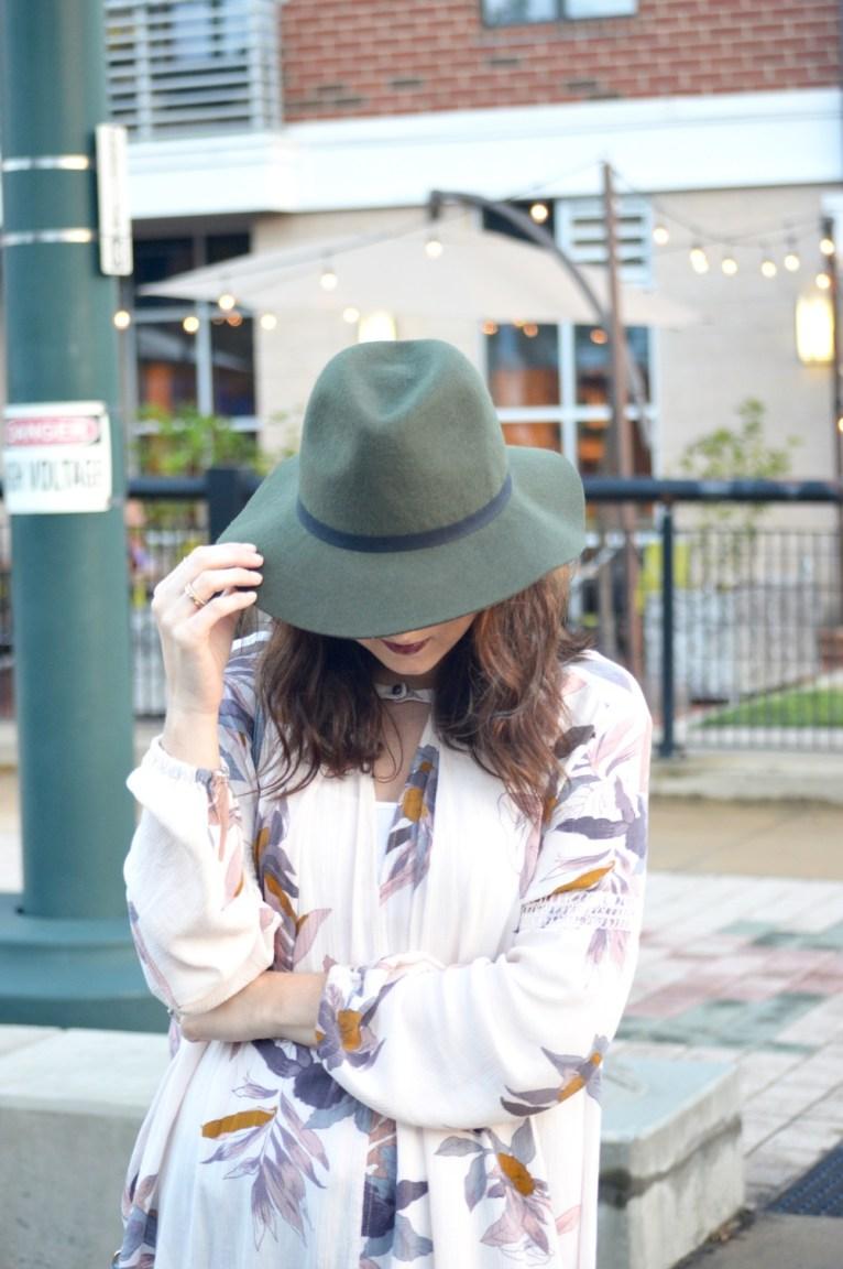Green Wide-Brim Hat