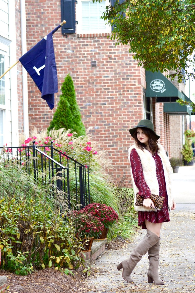 Free People Shirtdress and Faux Fur Vest