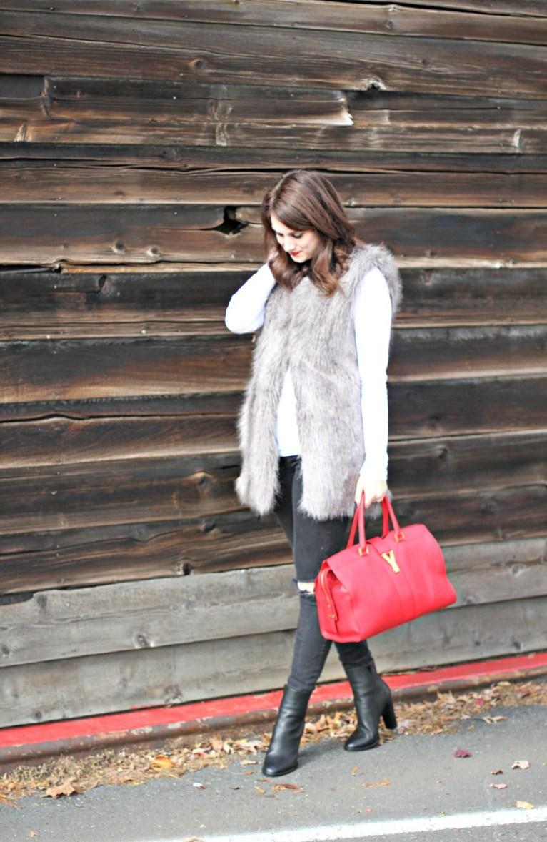 ann taylor faux fur grey vest