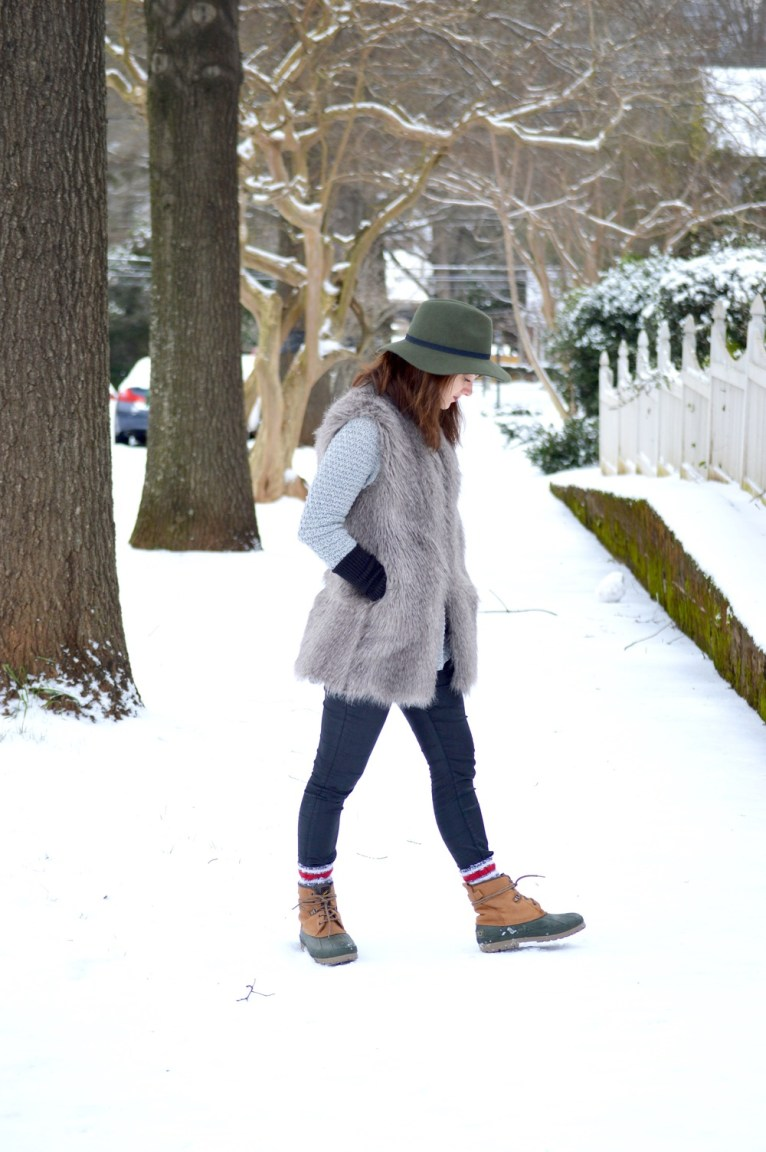 Faux fur snow day outfit