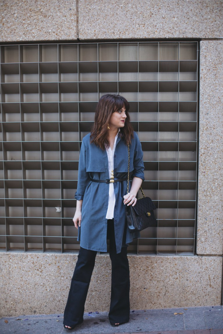 trench coat and flared denim
