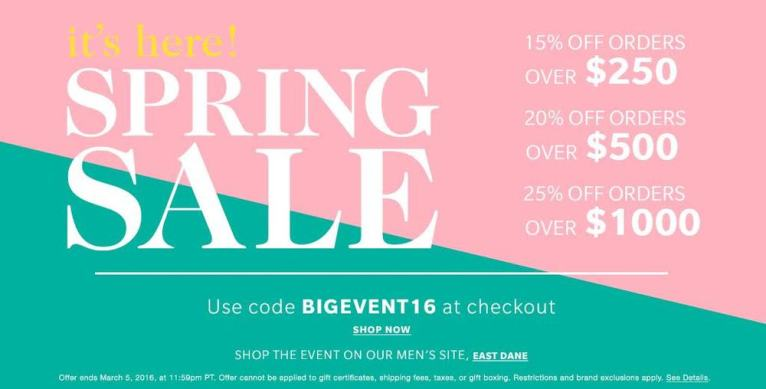 shopbop sale 2016