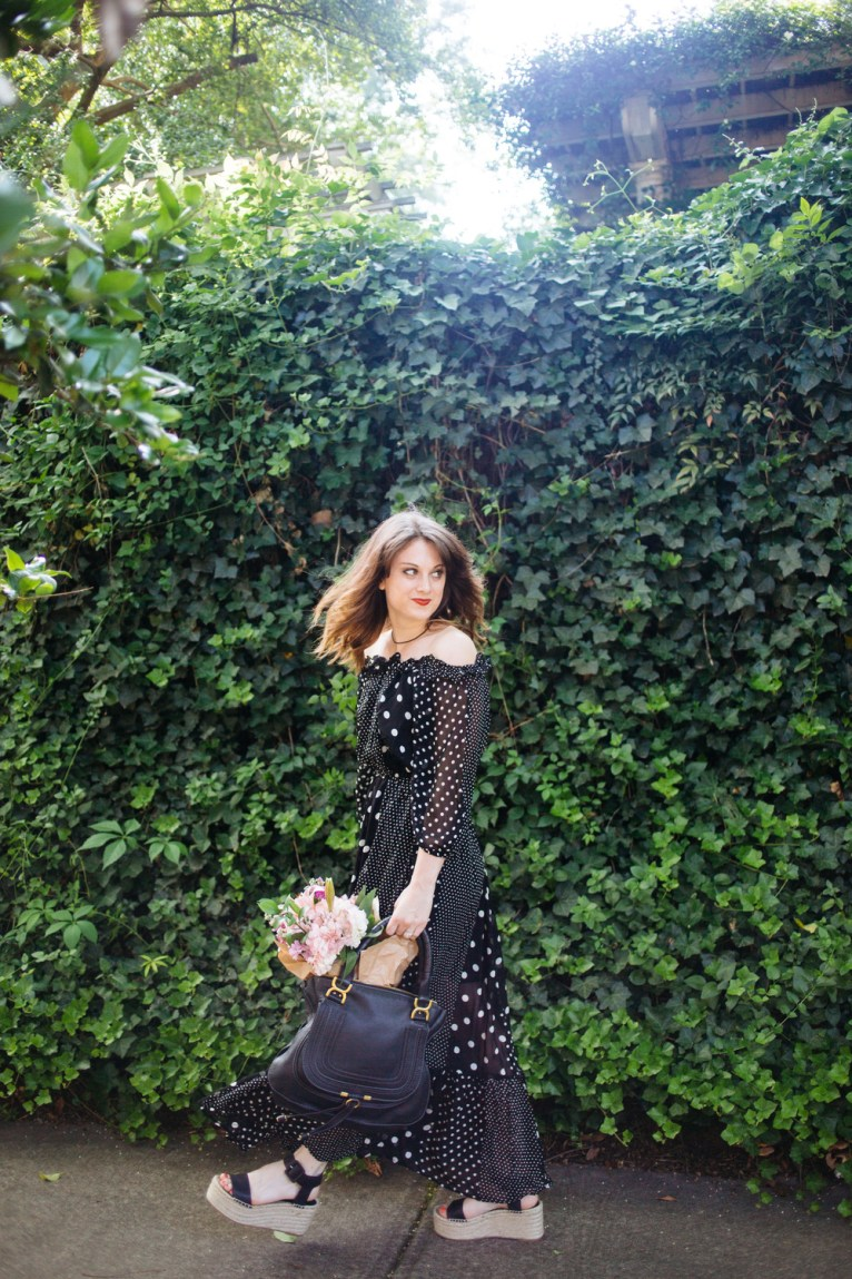 Black and White Polka Dot Off the Shoulder Maxi Dress || @polishedclosets