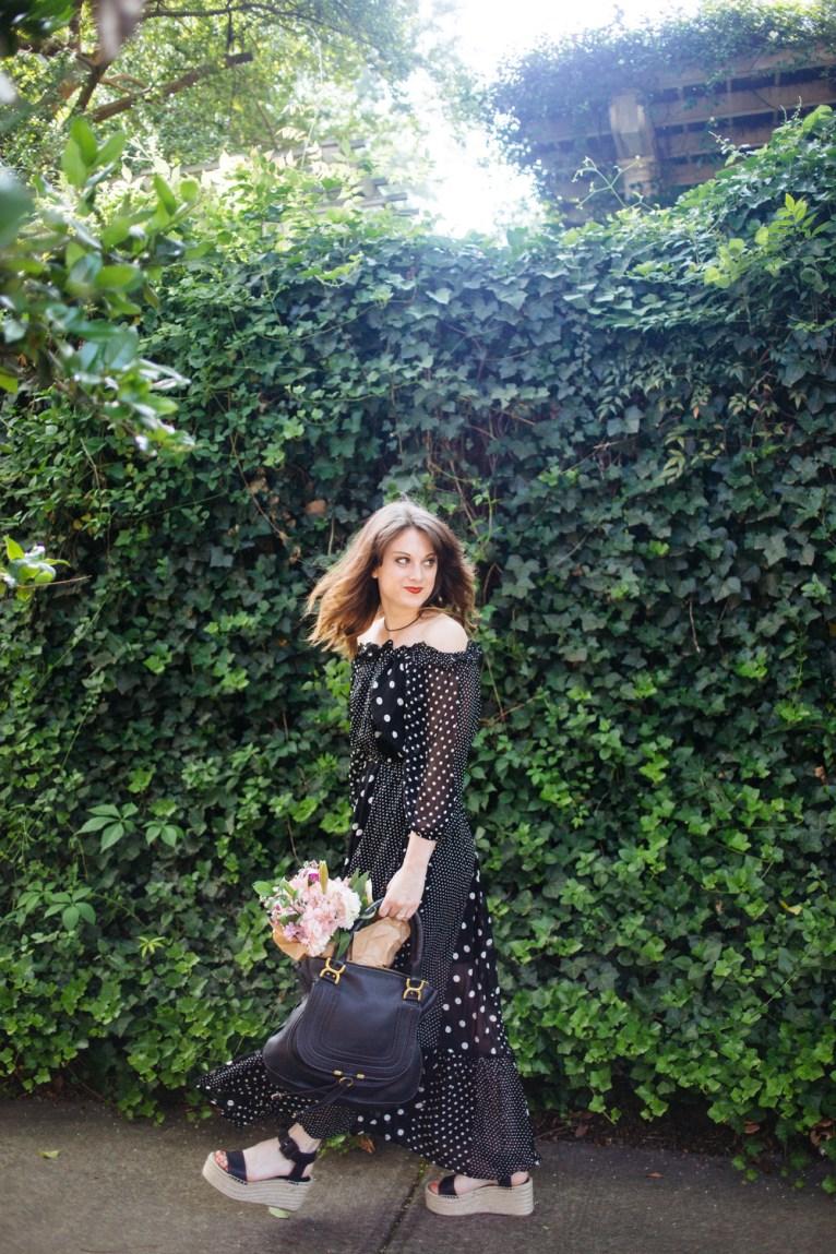 Black and White Polka Dot Off the Shoulder Maxi Dress || @polishedclosets