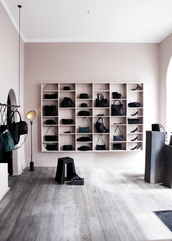 purses on shelves