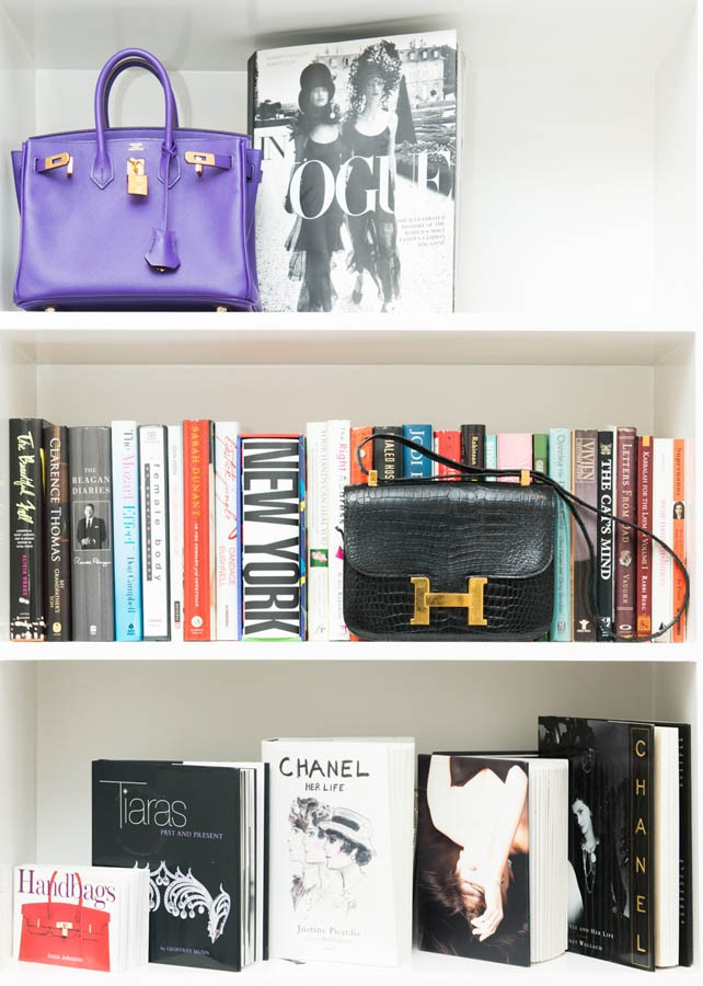 Purses on shelves