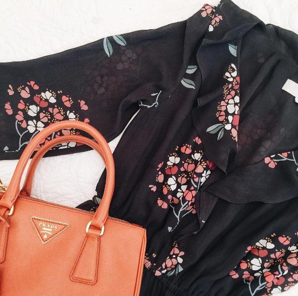 loft floral maxi dress and orange prada bag // www.polishedclosets.com