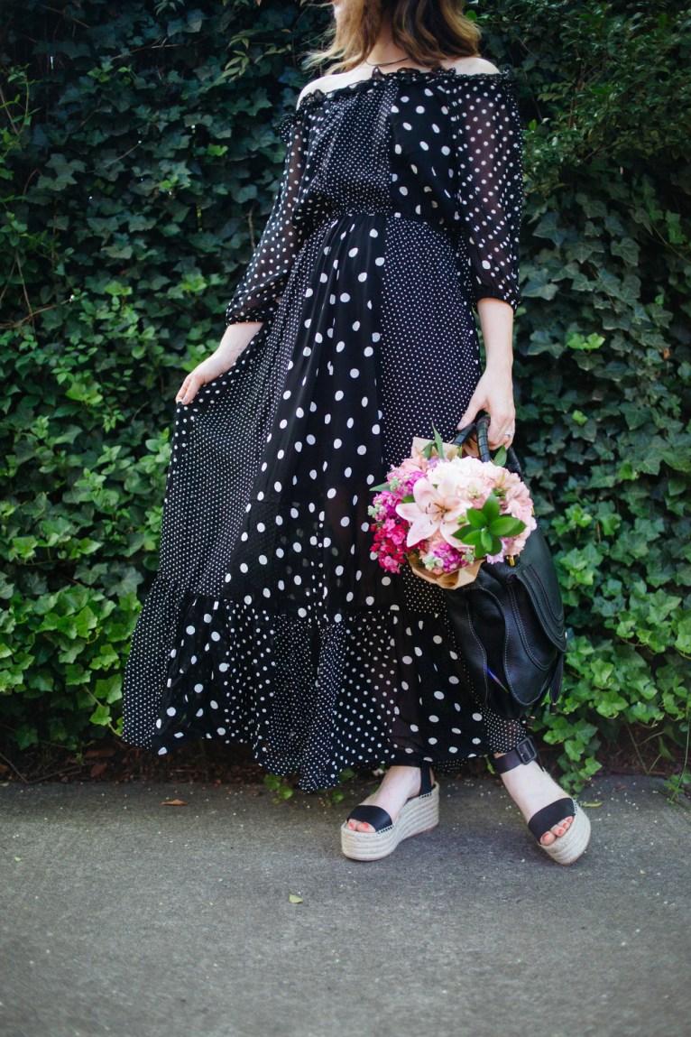 ASOS Polka Dot Off the Shoulder Dress || @polishedclosets