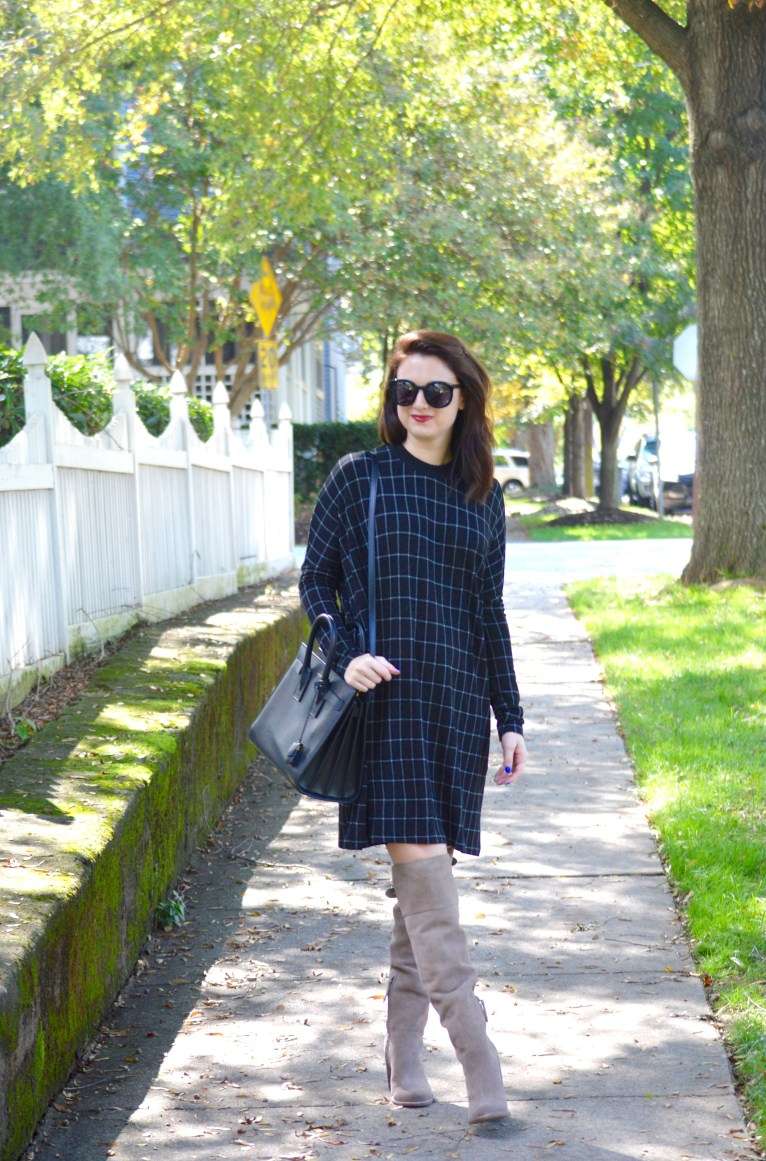 Black Plaid Sweater Dress // www.polishedclosets.com