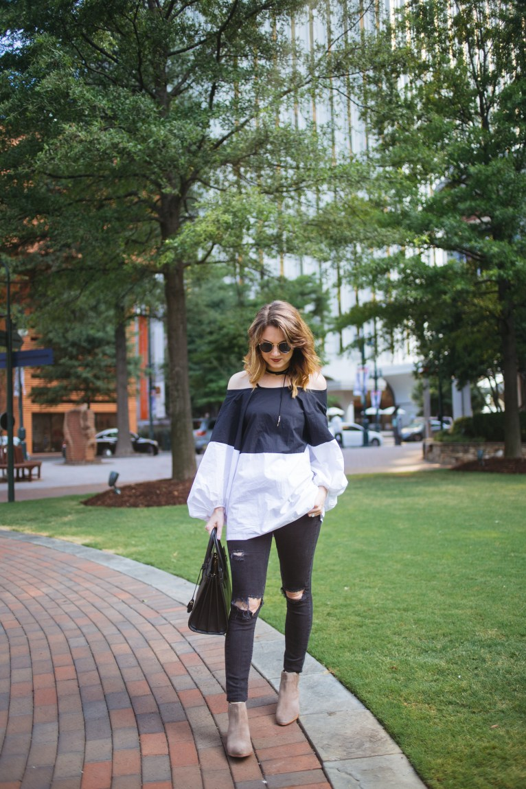 Black and White Cold Shoulder Top with Bubble Sleeves // www.polishedclosets.com