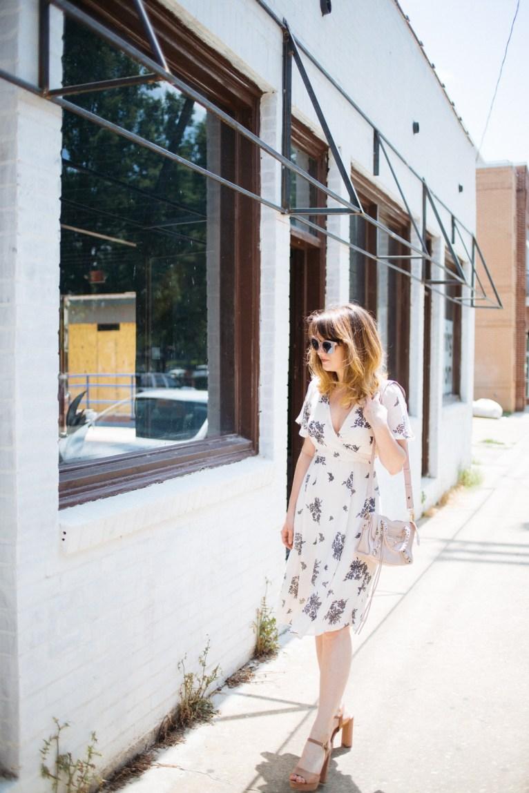 Neutral Floral Wrap Dress || www.polishedclosets.com