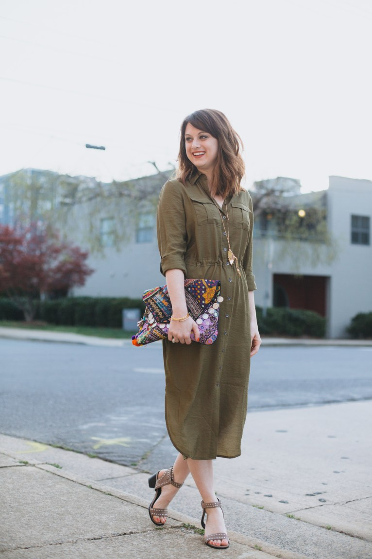Green midi shirtdress