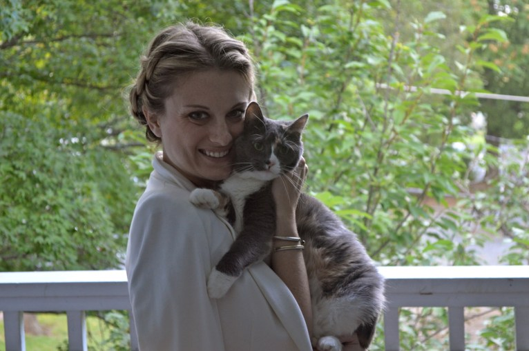 Our kitty Gracie came out to see what we were doing, so I had to take a picture with her! Truth: I'm a crazy cat lady.